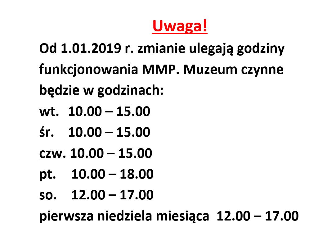 Zmiana godzin otwarcia dla zwiedzających
