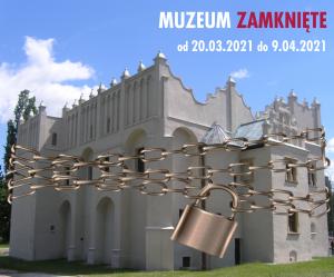 grafika zamknięcie muzeum. renesansowy dwór obronny w Pabianicach opasany łańcuchem i kłódką
