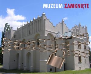 grafika o zamknięciu do 25.04.2021 muzeum, przedstawiająca renesansowy dwór w Pabianicach opasany łańcuchem z kłódką